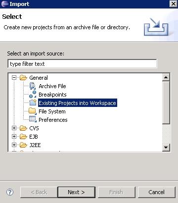 将示例程序导入到 Eclipse 工作区