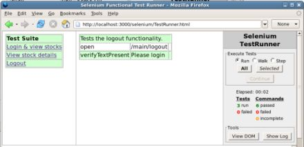 示例应用程序的测试套件